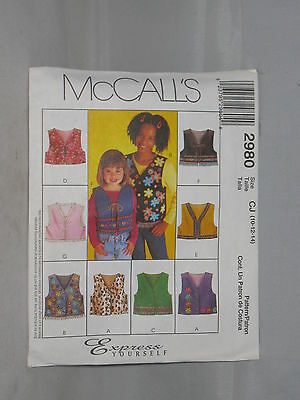 McCall/'s Pattern 2980 Children/'s Sewing
