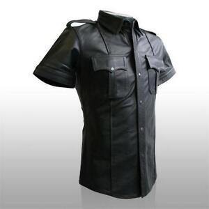 Mens-Hot-Genuine-Real-Black-Sheep-Lamb-LEATHER-Police-Uniform-Shirt-BLUF-Gay