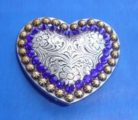 Western Tack Antique Silver/gold Berry Heart (2) 1 1/2 Concho W/crystals