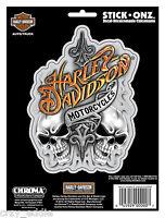 Harley Davidson Smoking Skulls Decal Made In Usa Biker Motorcycle Sticker