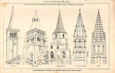 Illustrations On Tower Design James Cubitt Bright 1884 Antique Architectural Print