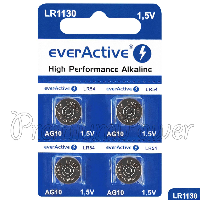 4 x everActive AG10 LR54 Alkaline batteries LR1130 189 389 1.5V GREAT VALUE