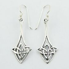 Silver earrings hook drop 925 sterling celtic knot 40mm height Diamond Shaped
