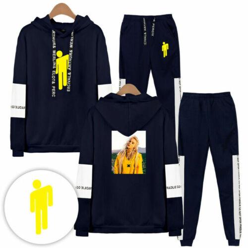 Women Girls Billie Eilish Tracksuit 2PCS Hoodie+Trousers Set Casual Jogger Suit