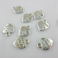 """30pcs Tibetan Silver """" made with love"""" Heart Charms Pendants Beads 10x12mm"""