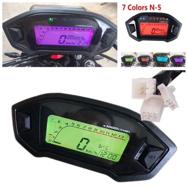 1X 7-Color Motorcycle ATV LCD Digital Speedometer Odometer+Speed Sensor N-5 Gear