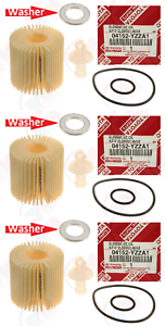 3-Pack GENUINE Oil Filter 04152-YZZA1 Drain Washer for Toyota /& Lexus