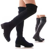 LADIES WOMENS STRETCH BLACK BOOTS OVER THE KNEE CHUNKY GRIP WINTER SHOES SIZE