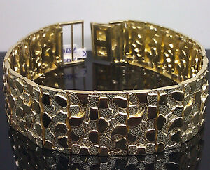 Image Is Loading New 10k Yellow Gold Nugget Bracelet 9 5