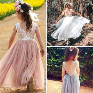 15ff2db27 UK Kid Princess Baby Flower Girl Dress Lace Backless Party Gown ...