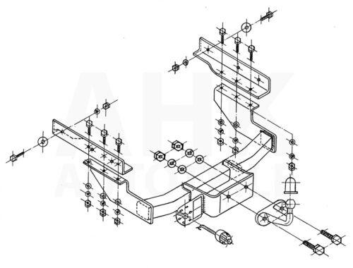 Für Volkswagen Transporter T4 Kasten 96-03 Anhängerkupplung starr+ES 7p uni AHK