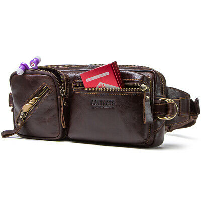 Genuine Leather Fanny Pack For Men Waist Bag Hip Belt Pouch Wallet Travel Purse