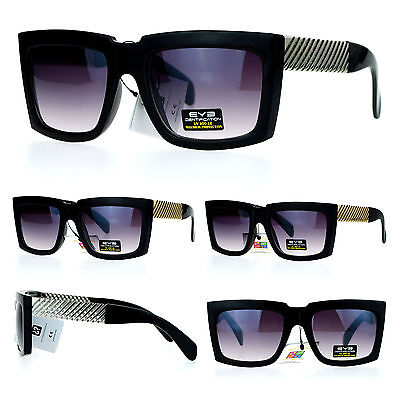 Mens Metal Arrow Chain Emblem Rectangular Angular Horn Rim Mobster Sunglasses