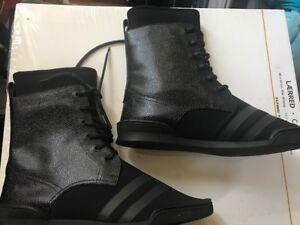 0ed1fb7e22c JIMMY CHOO EZRA black leather   Neoprene boots shoes Size 8.5 Euro ...