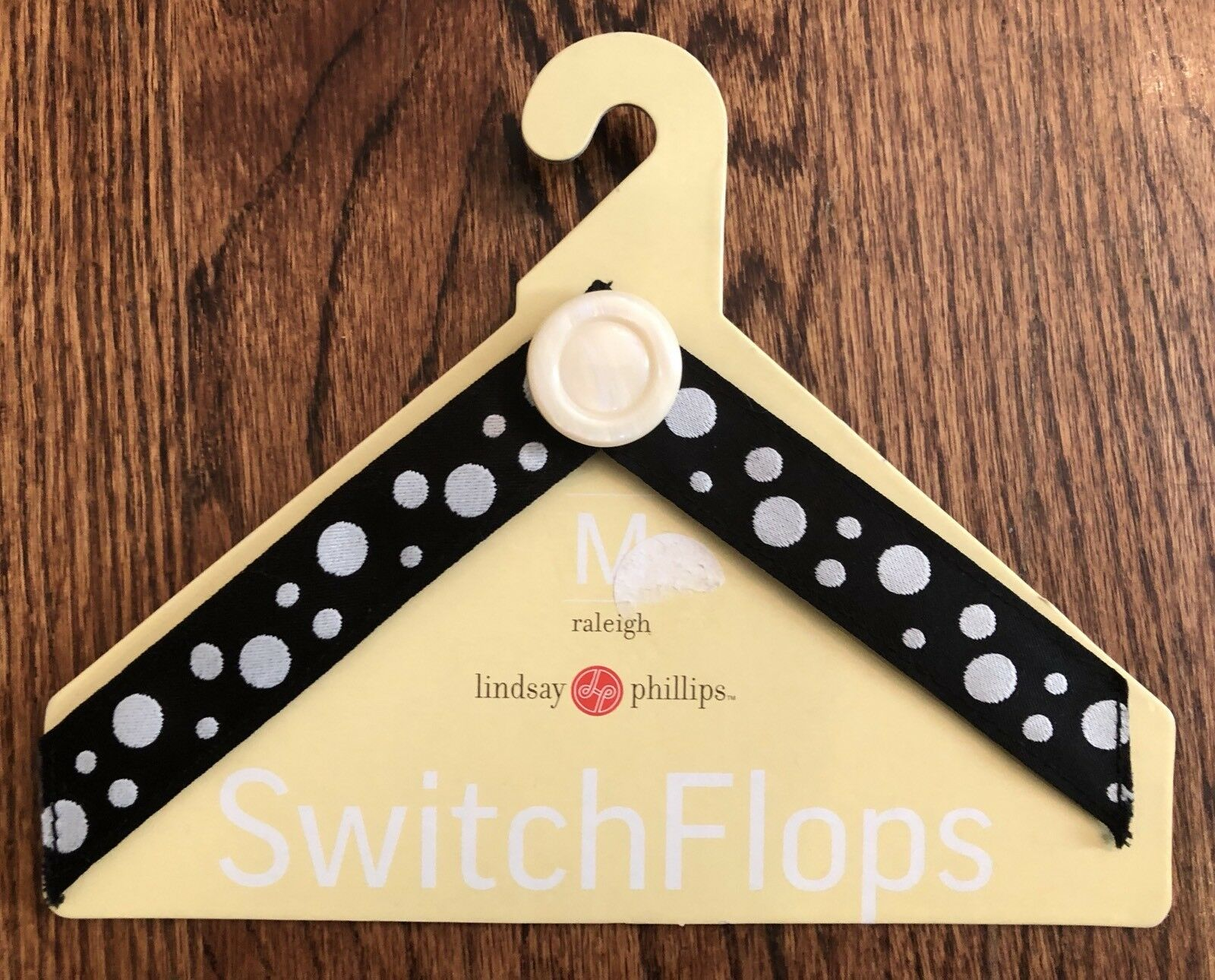 Lindsay Phillips Switch Flop Straps M 7-8 Black White Polka Dots Raleigh NEW