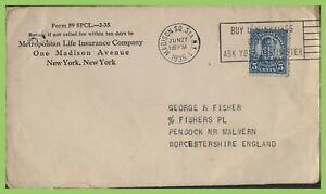 U-S-A-1935-5c-Perfin-Metropolitan-Life-Insurance-Co-on-cover-to-England