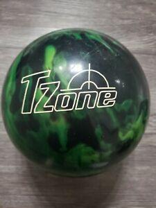 Vtg-13lb-Brunswick-T-Zone-Bowling-Ball-Green-Black-Marble-Swirl-b029