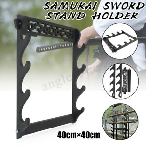 4-Tier-Samurai-Katana-Sword-Holder-Stand-Display-Wall-Mount-Hanger-Bracket-Rack