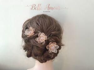 Blush-hair-pins-bridal-bridesmaid-floral-peach-crystal-wedding-hair-accessories