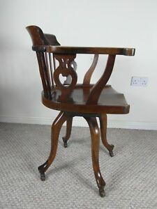 Brilliant Details About Antique Office Swivel Oak Chair Lamtechconsult Wood Chair Design Ideas Lamtechconsultcom
