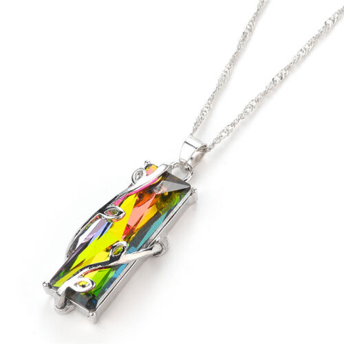 Rainbow Crystal Rhinestone Charm Pendant Long Chain Necklace Bridal Jewelry|GiES