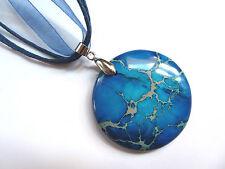 Natural Blue Sea Sediment Jasper Gemstone Pendant Necklace Jewellery one-off