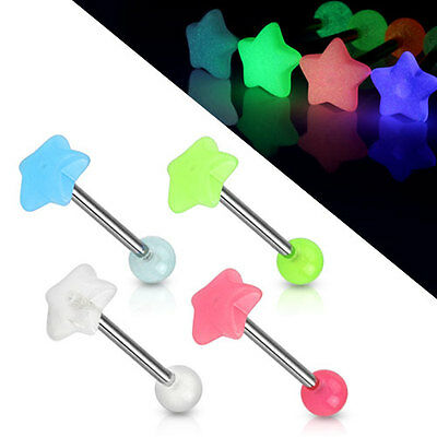 GLOW IN THE DARK STAR SHAPED TONGUE BAR STRAIGHT BARBELL CHOICE OF COLOURS