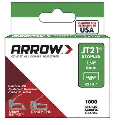 1//4in Box 1000 envoi gratuit Arrow-JT21 T27 agrafes 6 mm