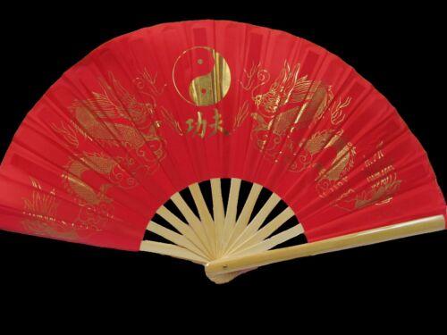 1x LARGE WOOD YIN-YANG BURLESQUE CHINESE COTTON DECORATIVE FANCY DRESS HAND FAN