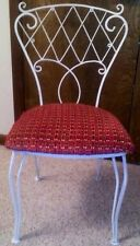 Wrought Iron White Cafe Chair With Chenille Upholstery