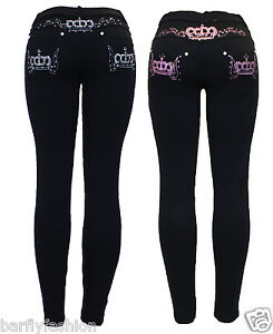 New-Womens-Stretchy-Black-Pink-Embroidery-Crown-Skinny-Jean-Jeggings-Leggings