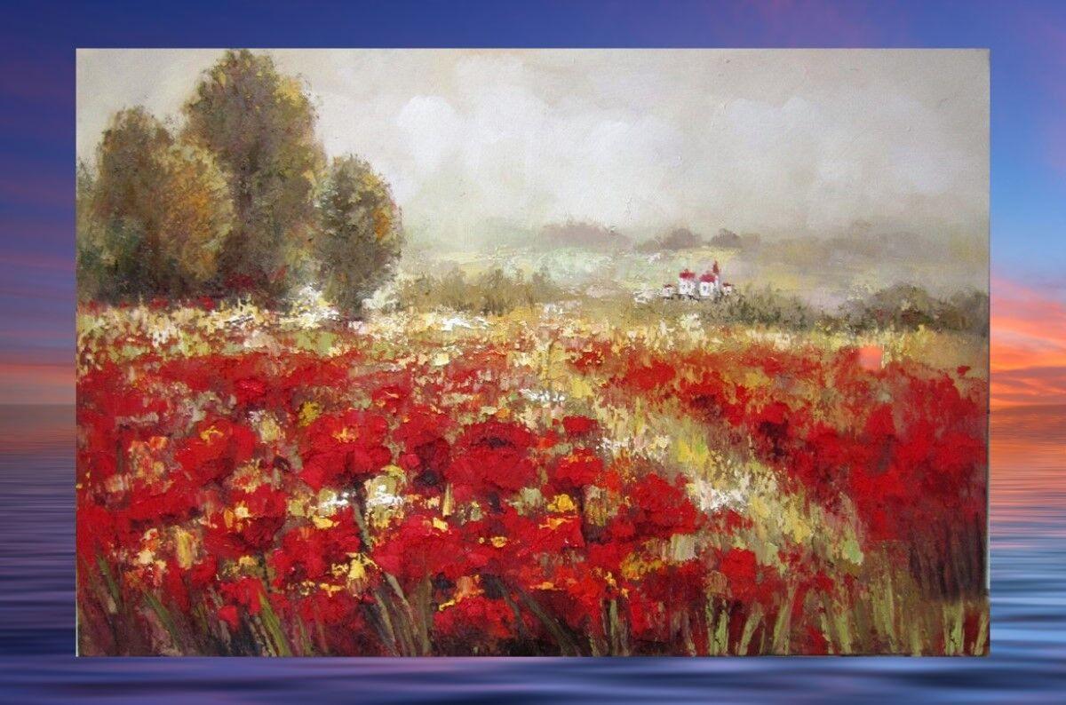 Ölbild Leinwand und Metall Rahmen Tulpen Feld Ölgemälde  Wand Deko Geschenk