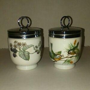 Royal-Worcester-Egg-Coddler-Lavinia-Eversham-Porcelain-Set-of-2-Made-in-England