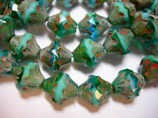 15 11x10mm Czech Glass Turquoise and Capri Blue  Picasso Baroque  Bicone Beads