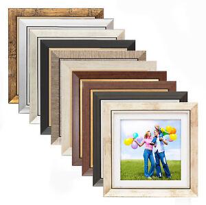 h24 wei passepartout quadratisch holz bilderrahmen 25x25 30x30 40x40 50x50 foto ebay. Black Bedroom Furniture Sets. Home Design Ideas