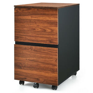 Costway 2 Drawer Mobile File Cabinet Rolling Filing Cabinet
