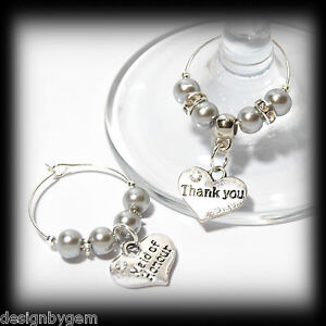 Beautiful Silver grey wedding wine glass charms for top table or ...