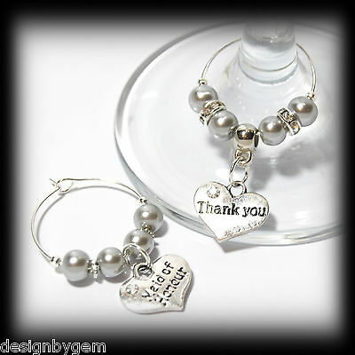 Beautiful Silver grey  wedding wine glass charms for top table or favours. decor
