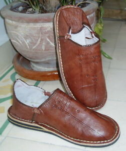 MOROCCAN-LEATHER-BABOUCHE-Slippers-BROWN-ALL-SIZES