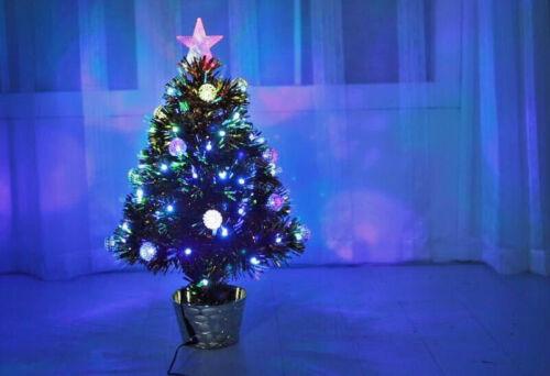 2 FT environ 0.61 m or 60 cm Petit Pré éclairé DEL Star Fibre Optique Arbre de Noël Noël Doré