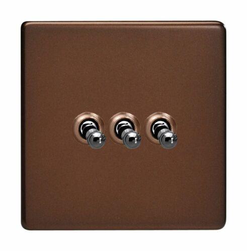 Varilight XDMT 3 S Screwless Moka 3 Gang 10 A 1 ou 2 Way Toggle interrupteur de lumière