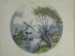 Gravur Farbig Landschaft Mit Windmühlen Unterzeichnet Am Bleistift