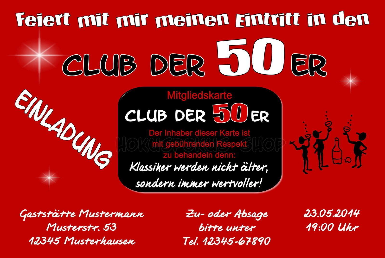 50 schede INVITO COMPLEANNO INVITI Club di ogni ogni ogni età 18 40 60 70 PARTY 33c097