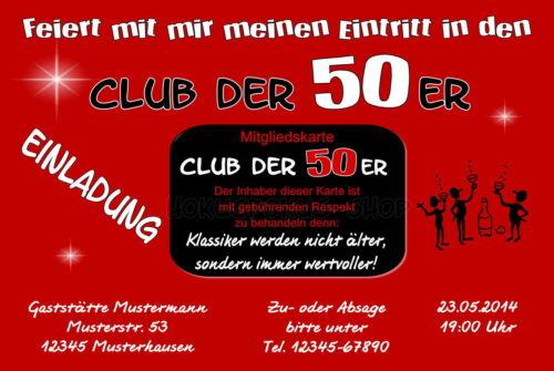 30 lustige Einladungskarten Geburtstag Einladungen Club JEDES ALTER 40 50 60 70