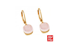 Details About Rose Quartz Gold Plated Romantic Designer Earrings Bild Der Frau New 925 Ss