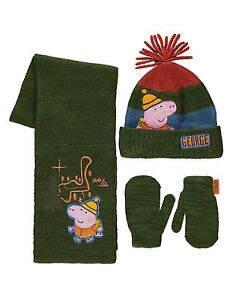 PEPPA-PIG-GEORGE-WINTER-SET-MITTS-HAT-SCARF-1-3-4-6YR-APPROX-NWT