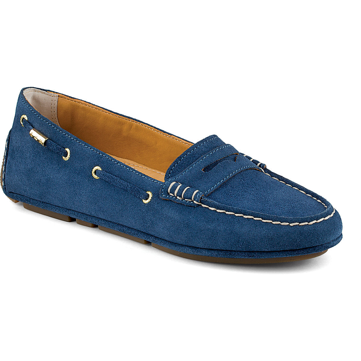 Women's Sperry Top-Sider Gold Cup Penny Driver Blue Suede, STS91202 Size 6