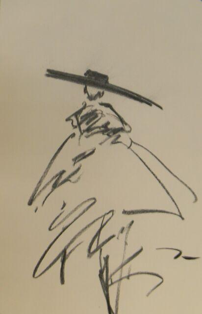 JOSE TRUJILLO - Charcoal Paper Sketch Drawing 11X17 Paris Figure ORIGINAL
