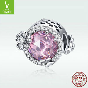 925-Sterling-Silver-Charm-Bead-Romantic-Pink-Crystal-Flower-For-Women-Bracelet