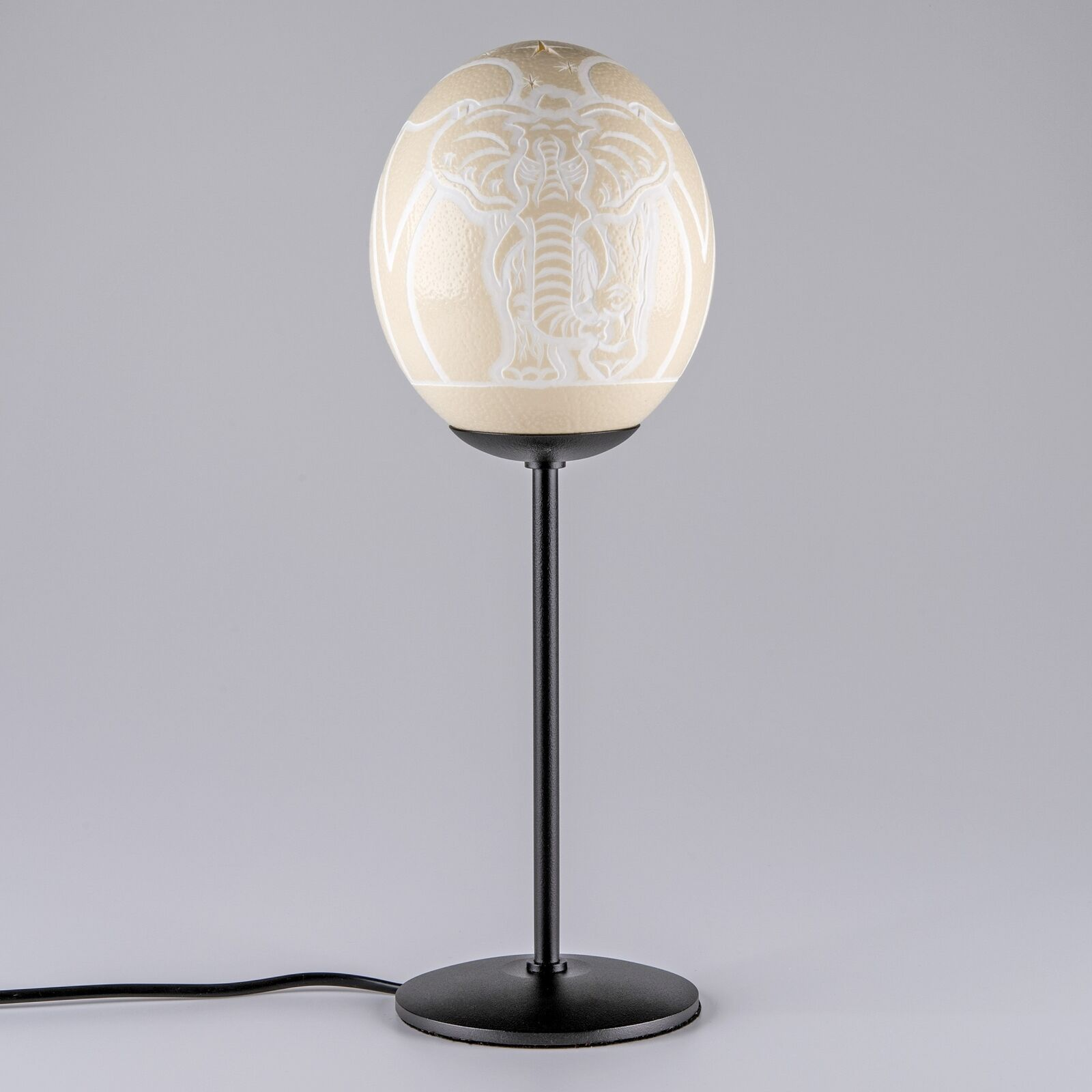 Straußeneilampe Elefant Strauß Beleuchtung Deko Design Lampe Straußeneierlampe